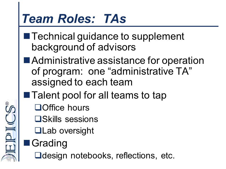 """Team Roles: TAs Technical guidance to supplement background of advisors Administrative assistance for operation of program: one """"administrative TA"""" as"""