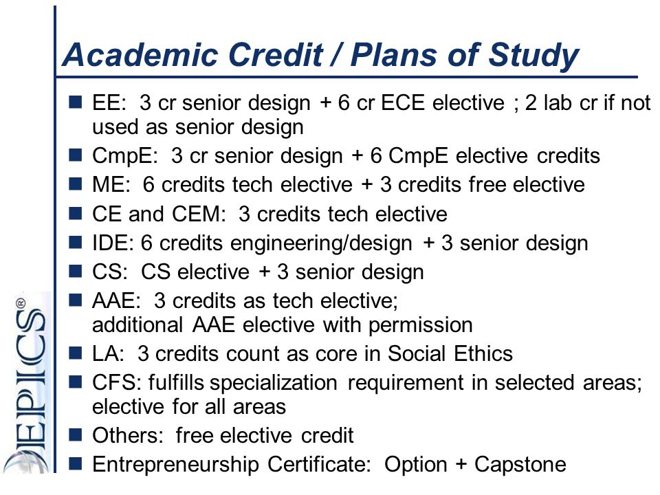 Academic Credit / Plans of Study EE: 3 cr senior design + 6 cr ECE elective ; 2 lab cr if not used as senior design CmpE: 3 cr senior design + 6 CmpE