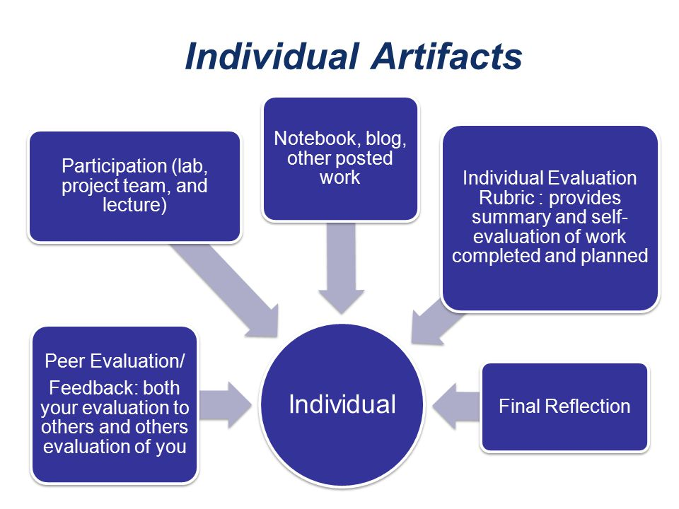 Individual Artifacts Individual Notebook, blog, other posted work Final Reflection Peer Evaluation/ Feedback: both your evaluation to others and other