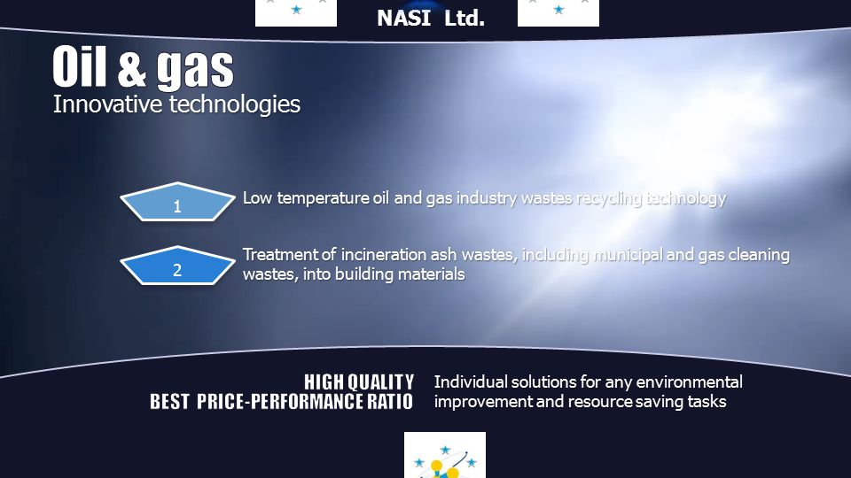 Low temperature oil and gas industry wastes recycling technology Treatment of incineration ash wastes, including municipal and gas cleaning wastes, into building materials 1 2 Innovative technologies Individual solutions for any environmental improvement and resource saving tasks NASI Ltd.