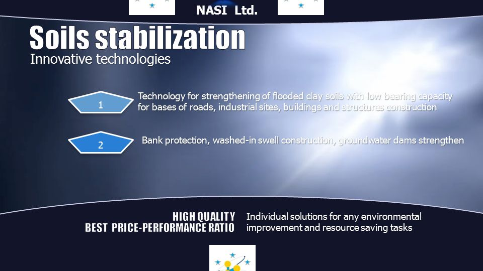 Technology for strengthening of flooded clay soils with low bearing capacity for bases of roads, industrial sites, buildings and structures construction Bank protection, washed-in swell construction, groundwater dams strengthen 1 2 Innovative technologies Individual solutions for any environmental improvement and resource saving tasks NASI Ltd.