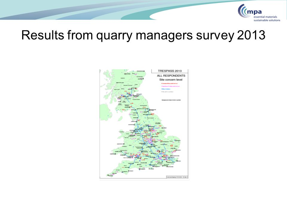 Results from quarry managers survey 2013