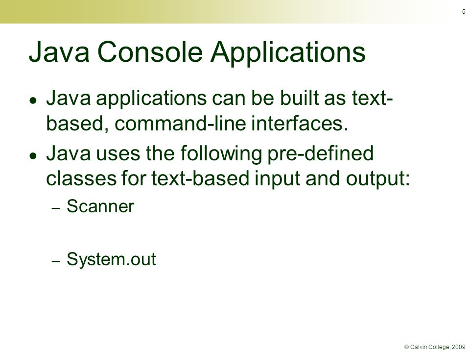 © Calvin College, 2009 26 package c08java.shaker; import javax.swing.JFrame; /** * ShakerController1 is a simple version of a Java controller for the Processing shaking circle * application.