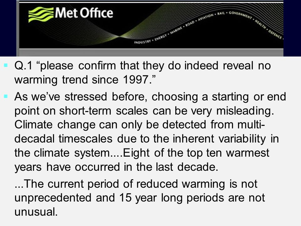"  Q.1 ""please confirm that they do indeed reveal no warming trend since 1997.""   As we've stressed before, choosing a starting or end point on sho"