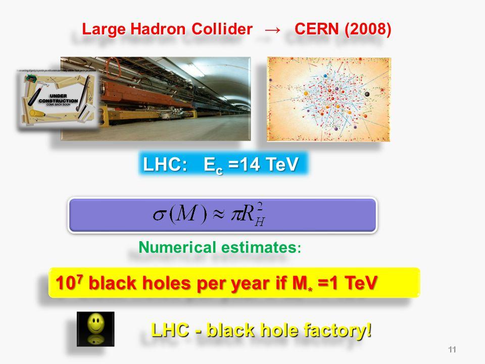11 Large Hadron Collider → CERN (2008) Numerical estimates : LHC - black hole factory.