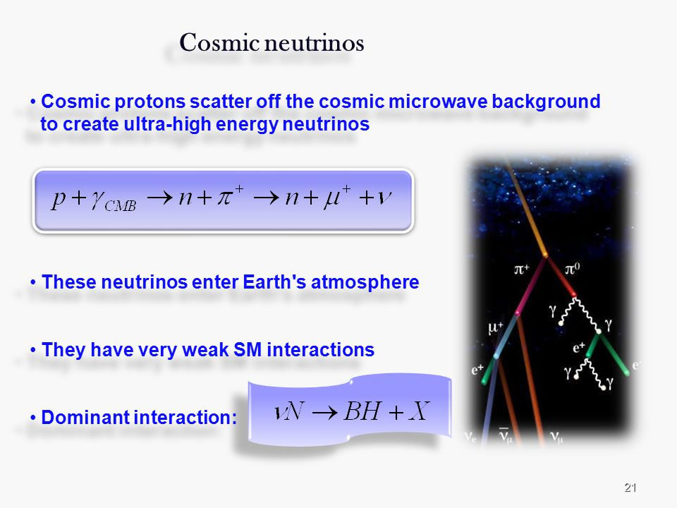 21 Cosmic neutrinos Cosmic protons scatter off the cosmic microwave background to create ultra-high energy neutrinos These neutrinos enter Earth s atmosphere They have very weak SM interactions Dominant interaction: Cosmic neutrinos Cosmic protons scatter off the cosmic microwave background to create ultra-high energy neutrinos These neutrinos enter Earth s atmosphere They have very weak SM interactions Dominant interaction: