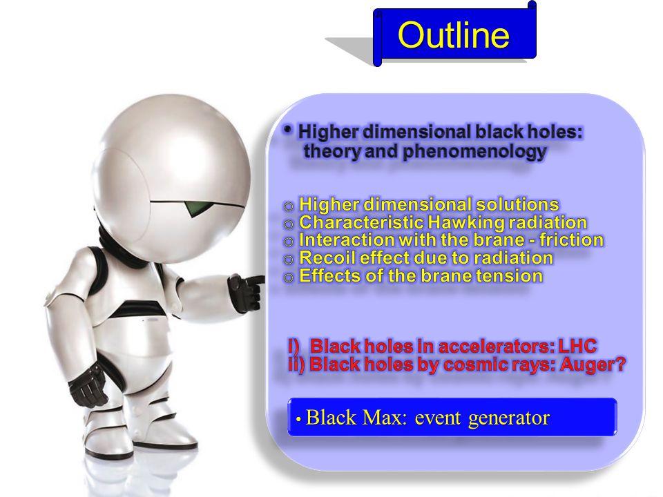 Outline Outline Black Max: event generator Black Max: event generator