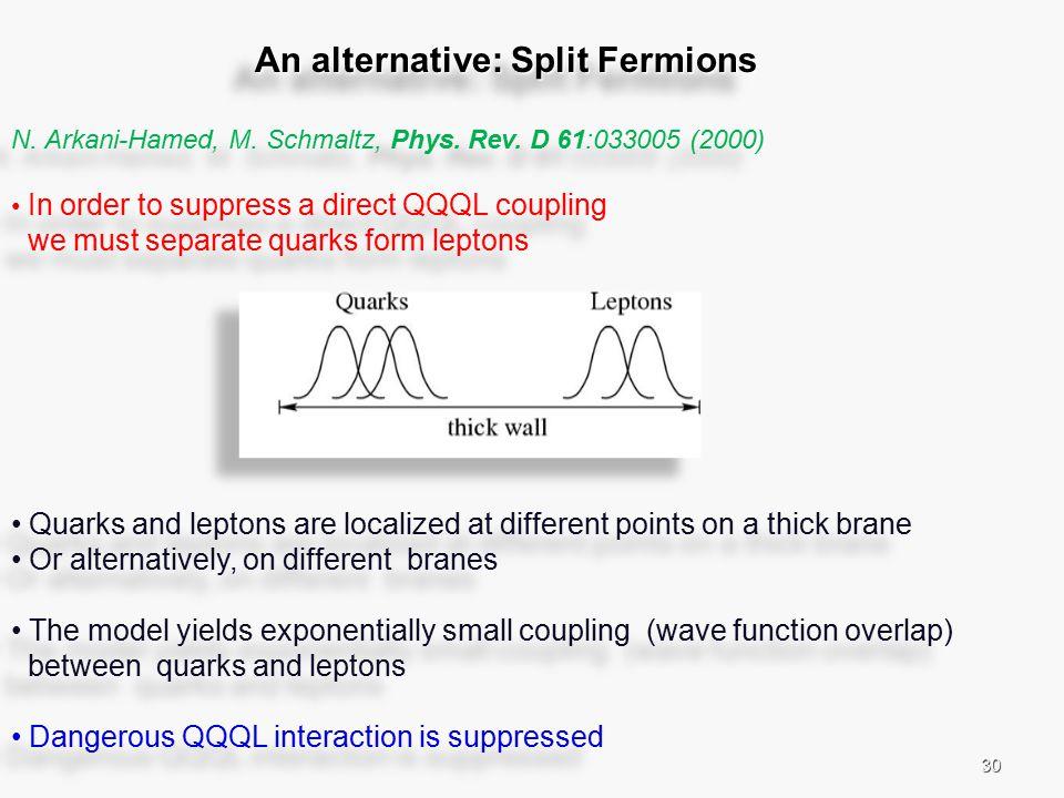 30 An alternative: Split Fermions An alternative: Split Fermions N.