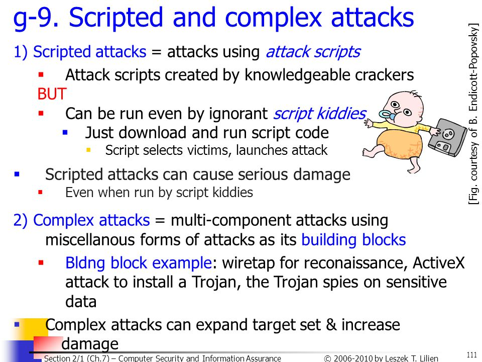 111 © 2006-2010 by Leszek T. Lilien Section 2/1 (Ch.7) – Computer Security and Information Assurance g-9. Scripted and complex attacks 1) Scripted att
