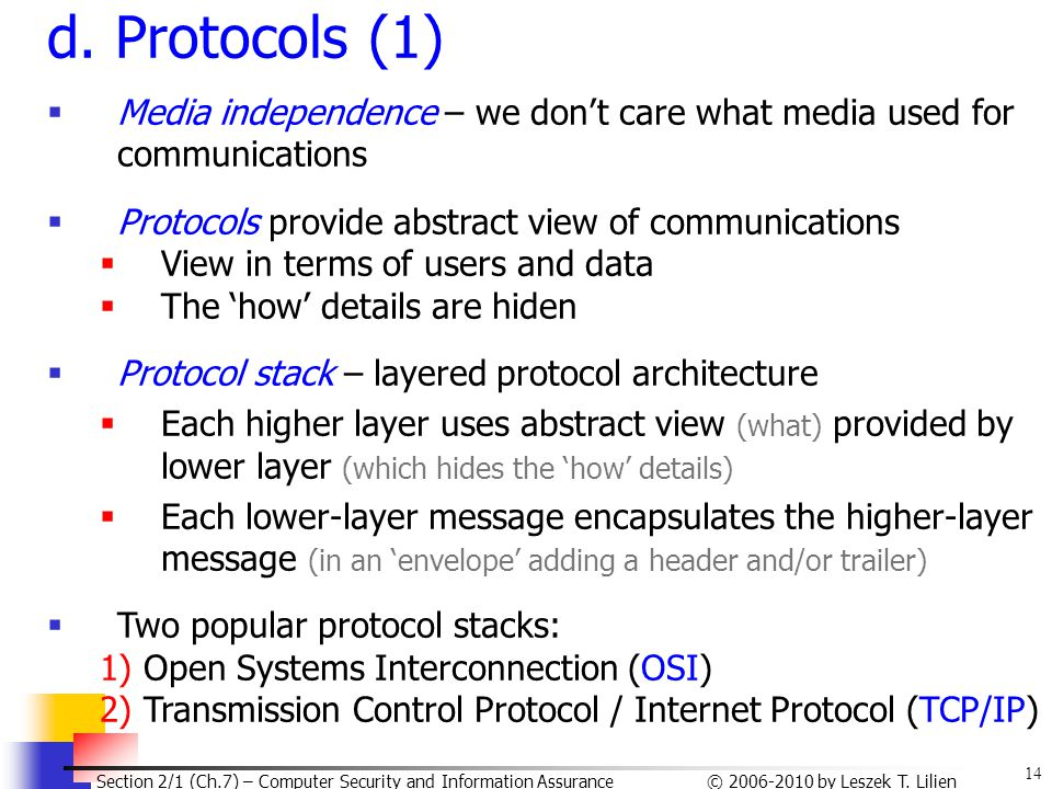 14 © 2006-2010 by Leszek T. Lilien Section 2/1 (Ch.7) – Computer Security and Information Assurance d. Protocols (1)  Media independence – we don't c