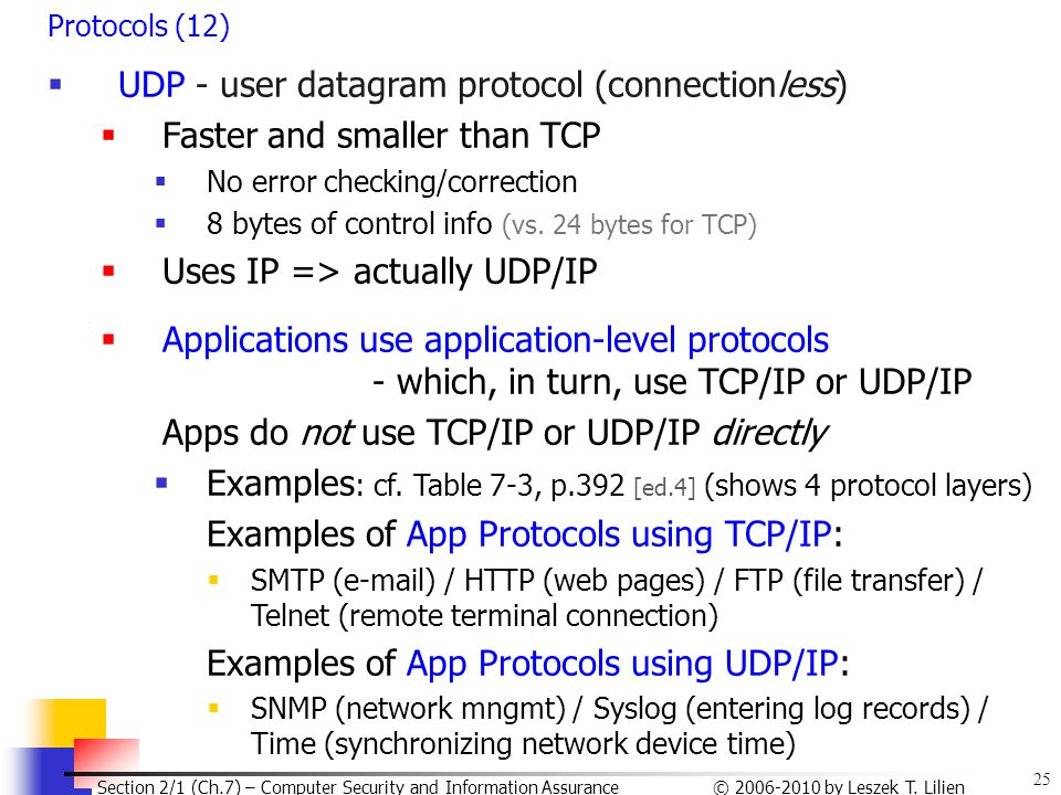 25 © 2006-2010 by Leszek T. Lilien Section 2/1 (Ch.7) – Computer Security and Information Assurance Protocols (12)  UDP - user datagram protocol (con