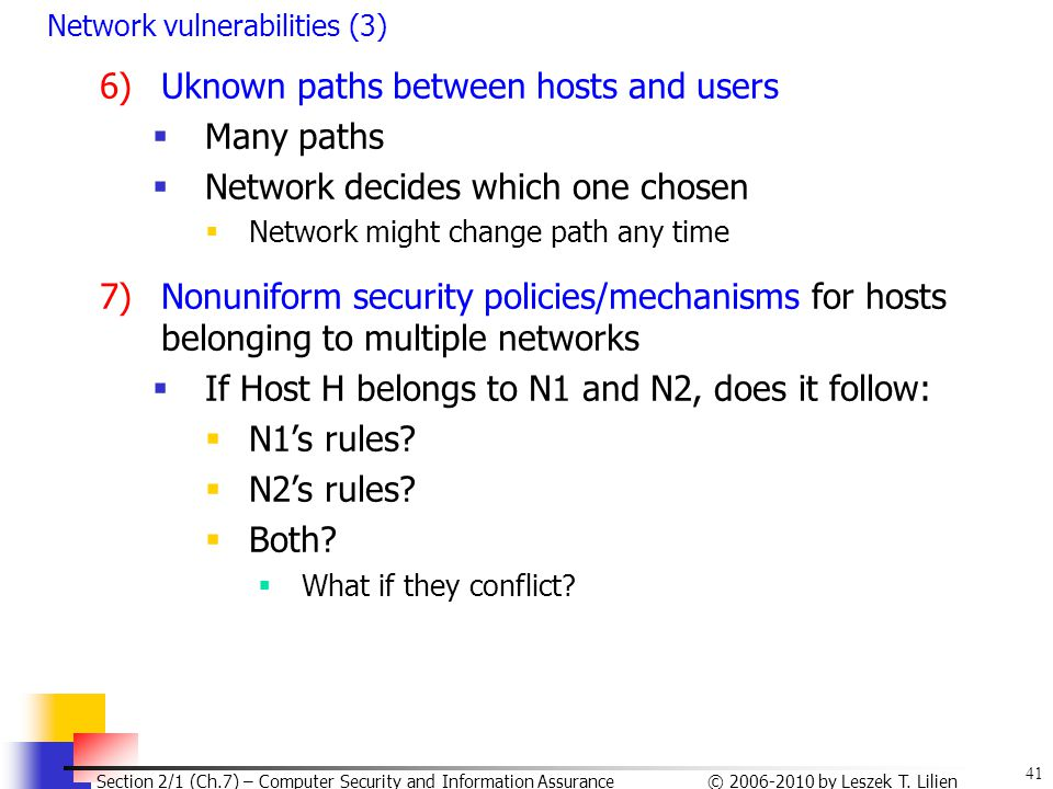 41 © 2006-2010 by Leszek T. Lilien Section 2/1 (Ch.7) – Computer Security and Information Assurance Network vulnerabilities (3) 6)Uknown paths between