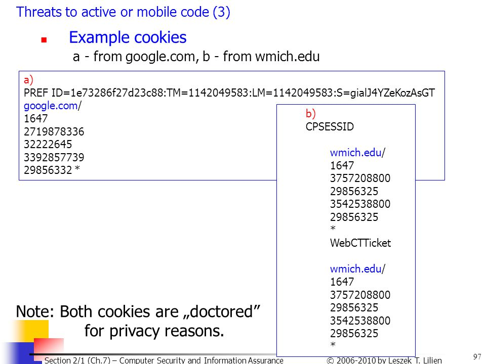 97 © 2006-2010 by Leszek T. Lilien Section 2/1 (Ch.7) – Computer Security and Information Assurance Threats to active or mobile code (3) Example cooki