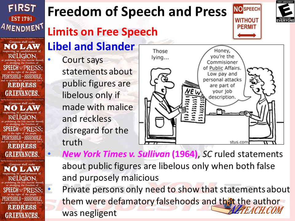 Freedom of Speech and Press Limits on Free Speech Libel and Slander Court says statements about public figures are libelous only if made with malice a