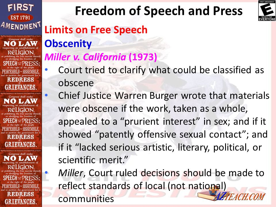 Freedom of Speech and Press Limits on Free Speech Obscenity Miller v. California (1973) Court tried to clarify what could be classified as obscene Chi