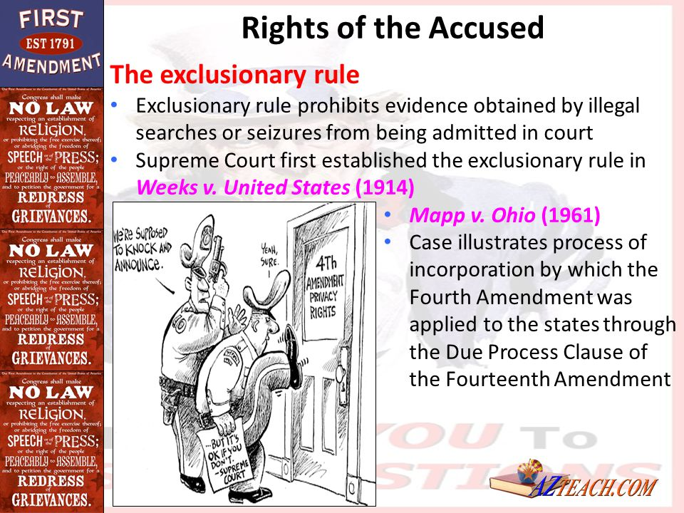 Rights of the Accused The exclusionary rule Exclusionary rule prohibits evidence obtained by illegal searches or seizures from being admitted in court