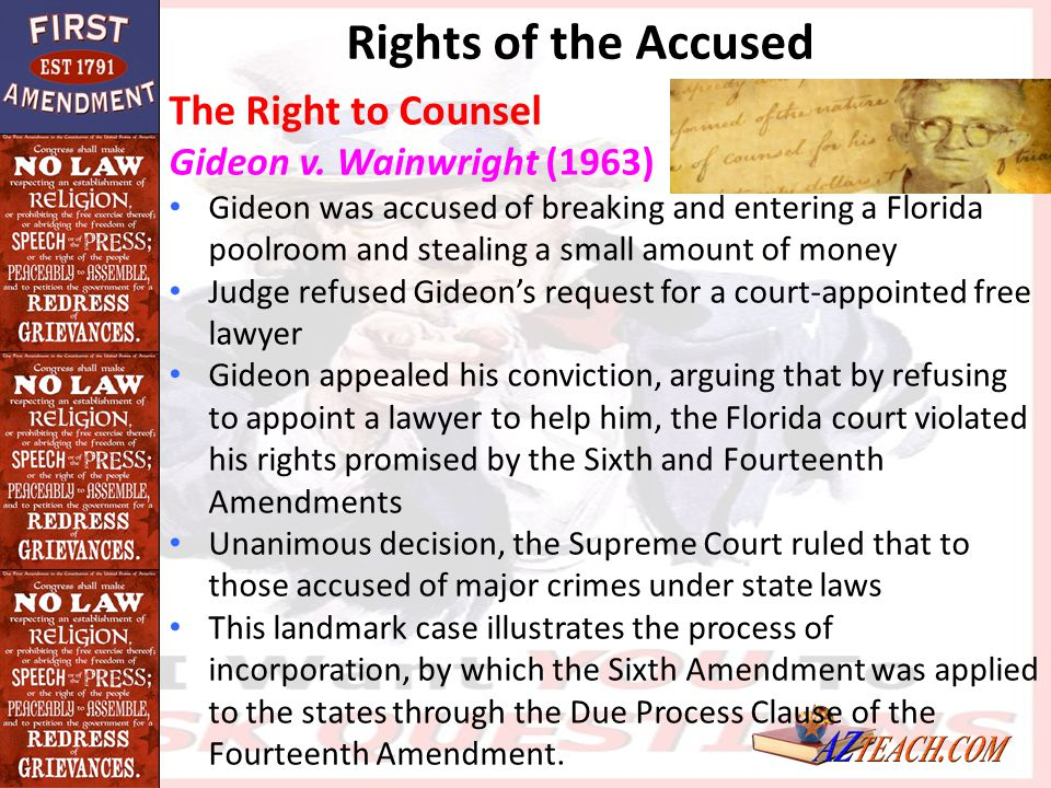 The Right to Counsel Gideon v. Wainwright (1963) Gideon was accused of breaking and entering a Florida poolroom and stealing a small amount of money J