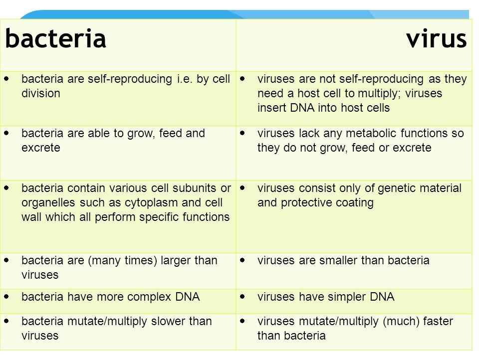 bacteria vs virus bacteriavirus  bacteria are self-reproducing i.e.