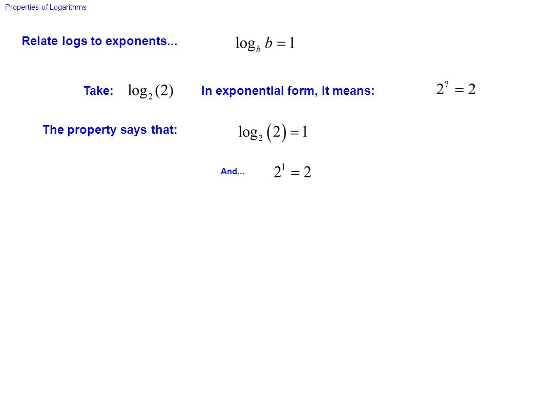Relate logs to exponents... Properties of Logarithms And... Take: The property says that: In exponential form, it means: