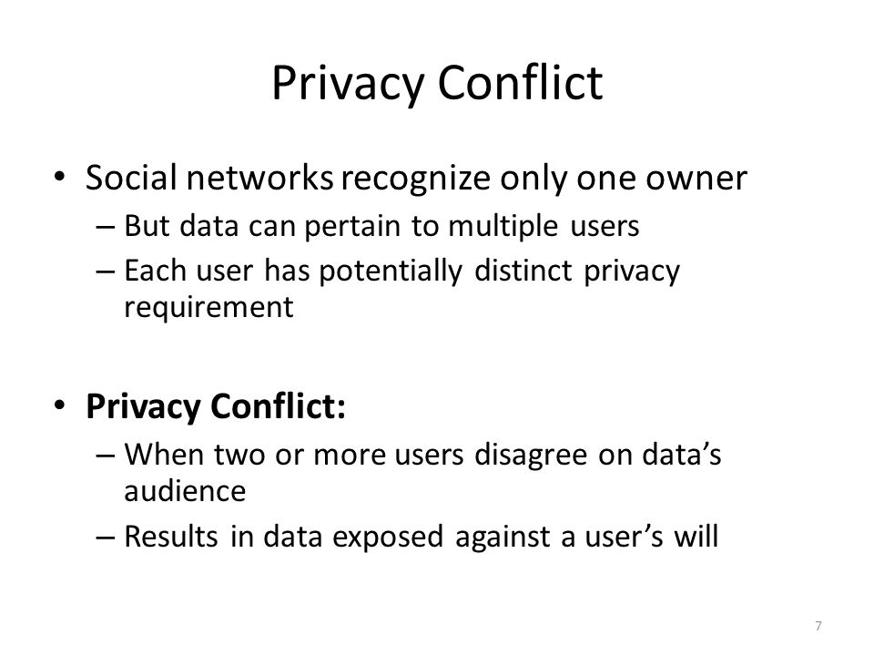 Privacy Conflict – Friendships Privacy Requirement: Hide sensitive relationships Privacy Conflict: Alice reveals her friends Link between Alice-Bob revealed by Alice 8