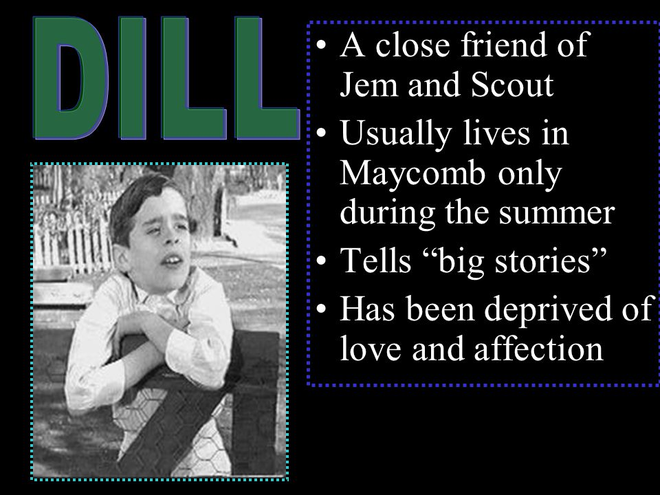 A close friend of Jem and Scout Usually lives in Maycomb only during the summer Tells big stories Has been deprived of love and affection