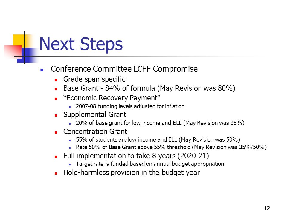 12 Next Steps Conference Committee LCFF Compromise Grade span specific Base Grant - 84% of formula (May Revision was 80%) Economic Recovery Payment funding levels adjusted for inflation Supplemental Grant 20% of base grant for low income and ELL (May Revision was 35%) Concentration Grant 55% of students are low income and ELL (May Revision was 50%) Rate 50% of Base Grant above 55% threshold (May Revision was 35%/50%) Full implementation to take 8 years ( ) Target rate is funded based on annual budget appropriation Hold-harmless provision in the budget year