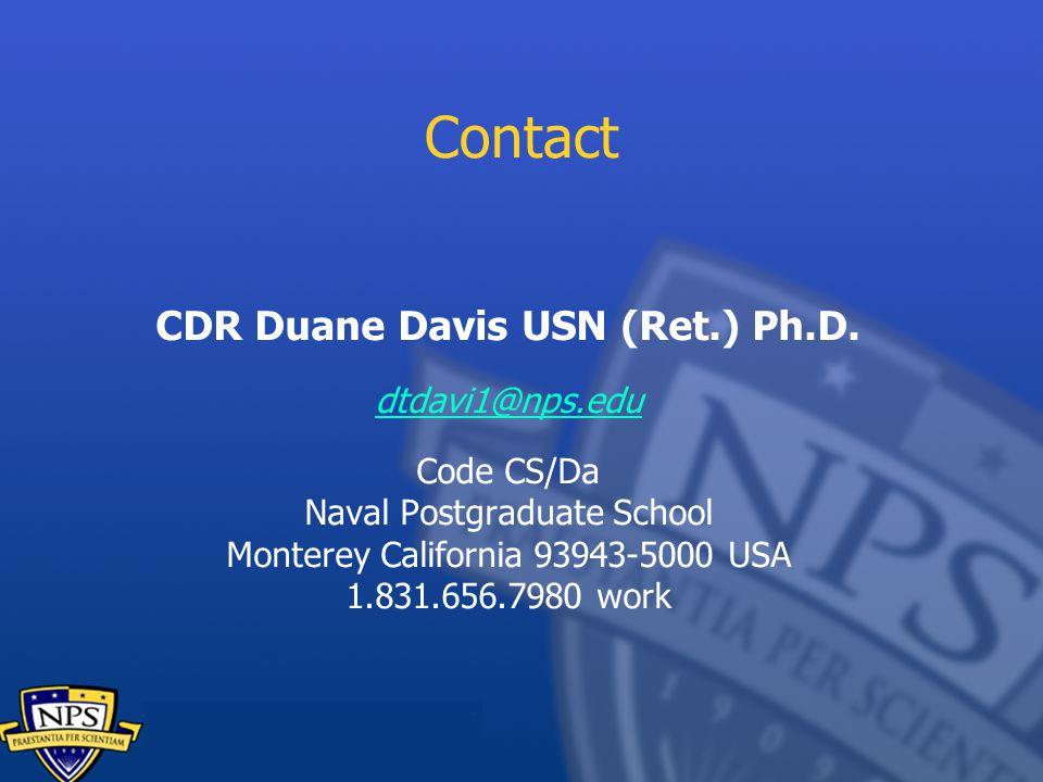 CDR Duane Davis USN (Ret.) Ph.D.