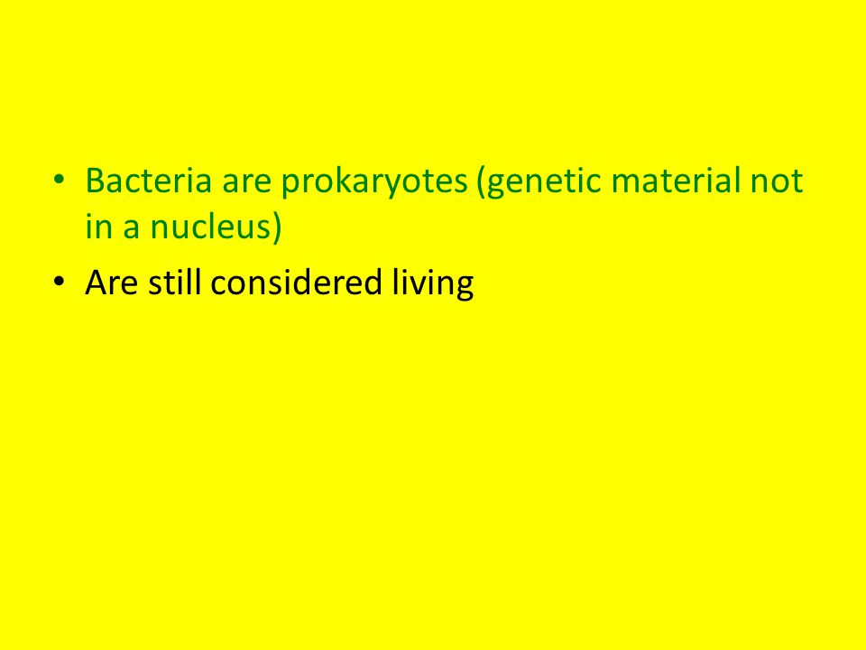 Bacteria are prokaryotes (genetic material not in a nucleus) Are still considered living
