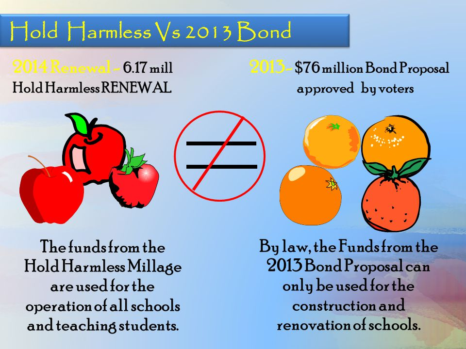 2014 Renewal - 6.17 mill Hold Harmless RENEWAL 2013- $76 million Bond Proposal approved by voters The funds from the Hold Harmless Millage are used fo