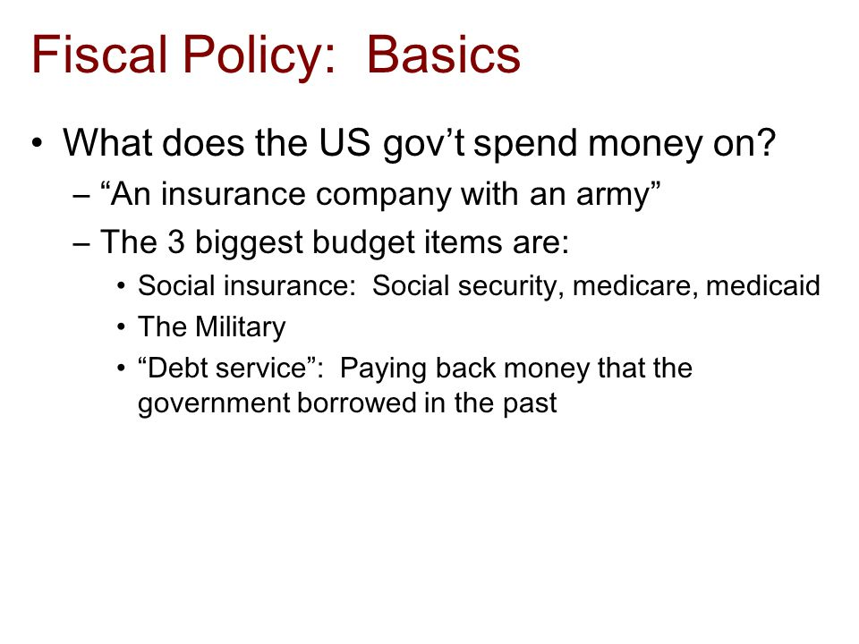 Fiscal Policy: Basics What does the US gov't spend money on.