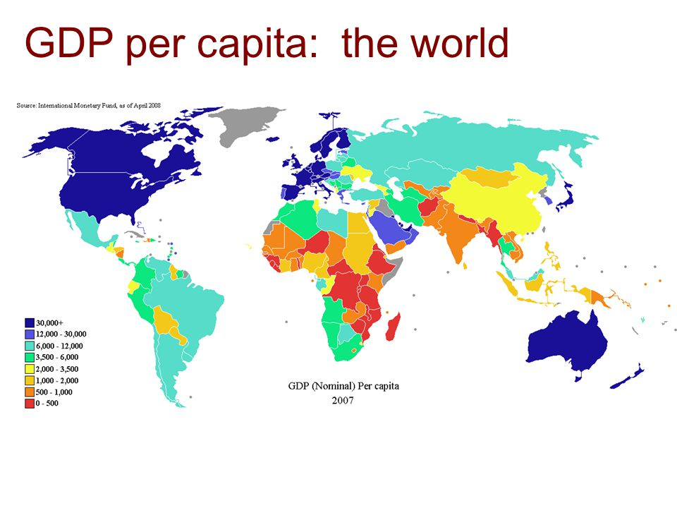 GDP per capita: the world