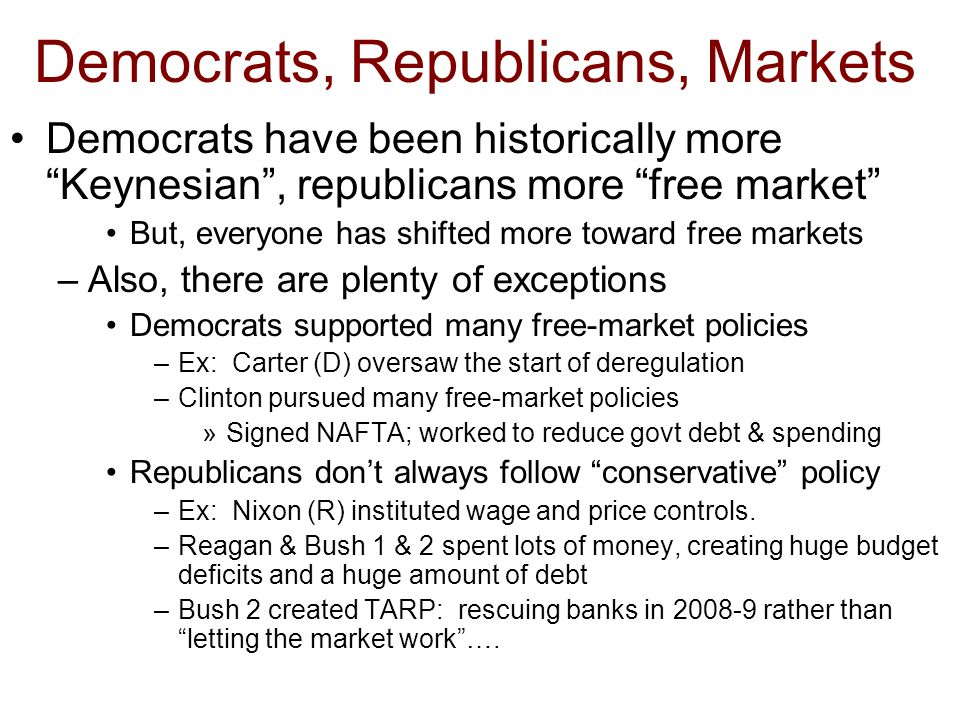 Democrats, Republicans, Markets Democrats have been historically more Keynesian , republicans more free market But, everyone has shifted more toward free markets –Also, there are plenty of exceptions Democrats supported many free-market policies –Ex: Carter (D) oversaw the start of deregulation –Clinton pursued many free-market policies »Signed NAFTA; worked to reduce govt debt & spending Republicans don't always follow conservative policy –Ex: Nixon (R) instituted wage and price controls.