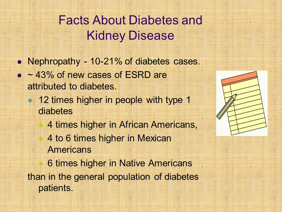 Facts About Diabetes and Kidney Disease Nephropathy - 10-21% of diabetes cases. ~ 43% of new cases of ESRD are attributed to diabetes. 12 times higher