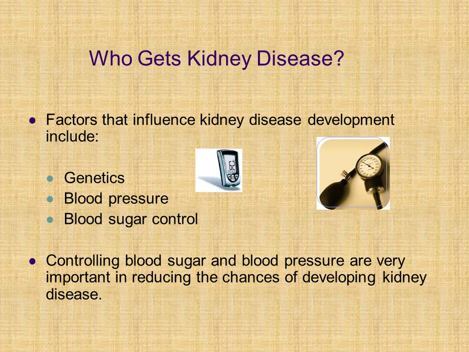 Who Gets Kidney Disease? Factors that influence kidney disease development include: Genetics Blood pressure Blood sugar control Controlling blood suga