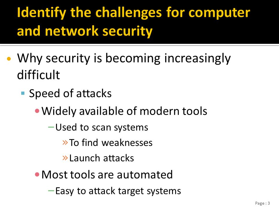 Page : 4 Speed of attacks: (examples) In 2003 : the Slammer worm infected 75,000 computers in the first 11 minutes after it was released and infected double every 8.5 seconds.