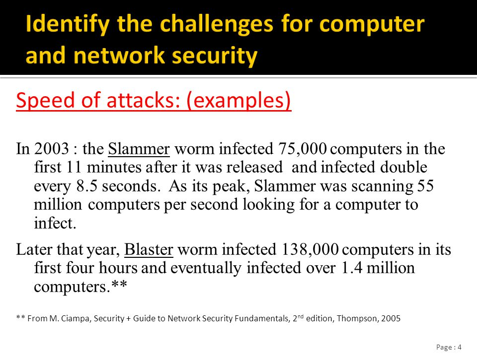 Page : 35 Network security differences from computer security  Attacks can come from anywhere, anytime  Highly automated (script)  Physical security measures are inadequate  Wide variety of applications, services, protocols Complexity Different constraints, assumptions, goals  No single authority /administrators Definition of computer and network security