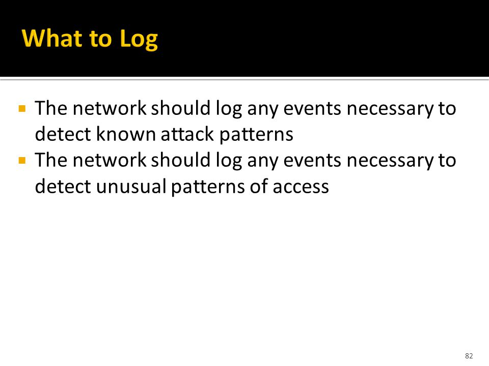 82  The network should log any events necessary to detect known attack patterns  The network should log any events necessary to detect unusual patterns of access