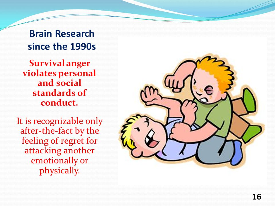 Brain Research since the 1990s Survival anger violates personal and social standards of conduct.