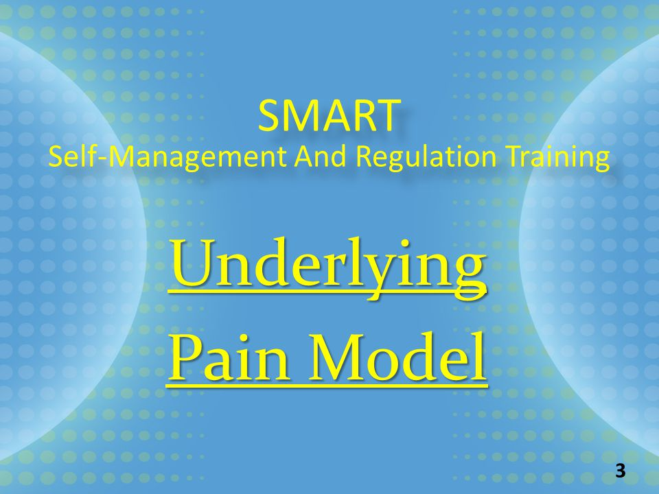 SMART Self-Management And Regulation Training SMART Self-Management And Regulation Training Underlying Pain Model 3