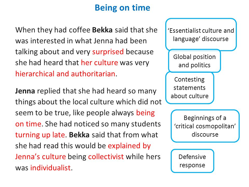 Being on time When they had coffee Bekka said that she was interested in what Jenna had been talking about and very surprised because she had heard that her culture was very hierarchical and authoritarian.