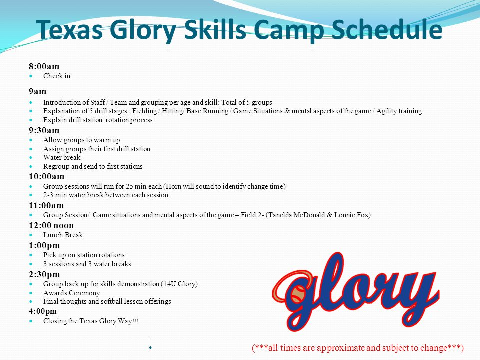 8:00am Check in 9am Introduction of Staff / Team and grouping per age and skill: Total of 5 groups Explanation of 5 drill stages: Fielding / Hitting/