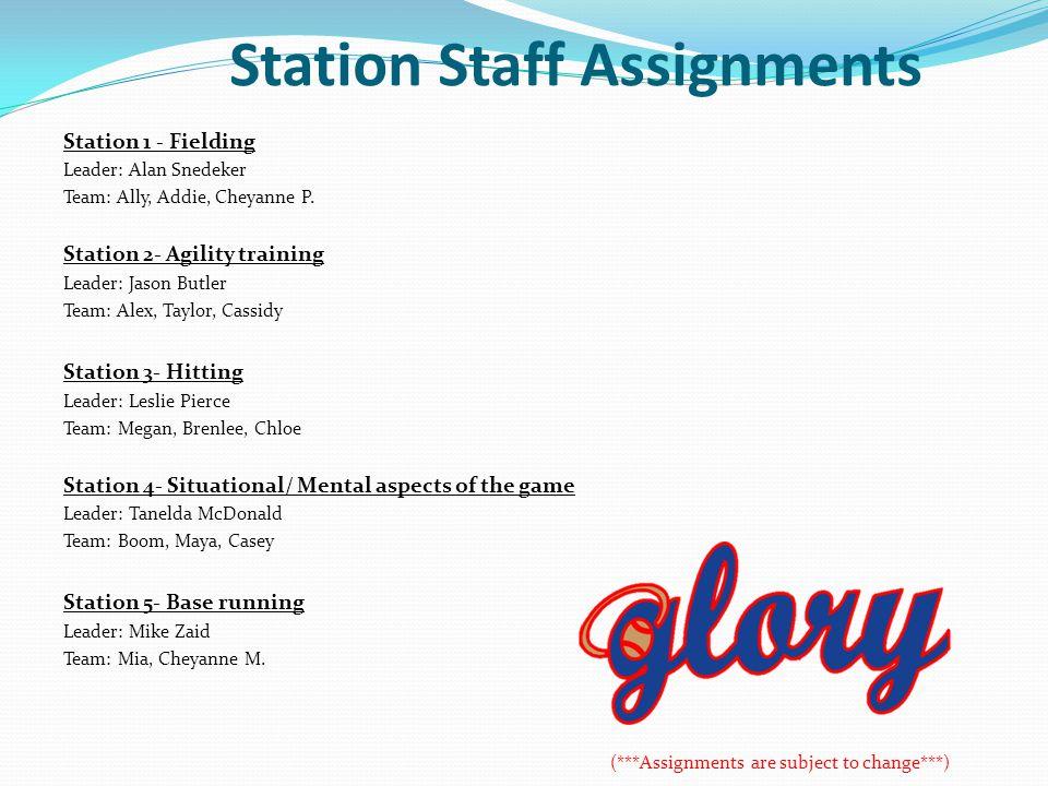 Station Staff Assignments Station 1 - Fielding Leader: Alan Snedeker Team: Ally, Addie, Cheyanne P. Station 2- Agility training Leader: Jason Butler T