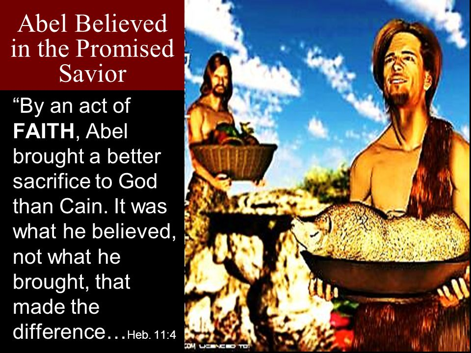 "Abel Believed in the Promised Savior ""By an act of FAITH, Abel brought a better sacrifice to God than Cain. It was what he believed, not what he broug"