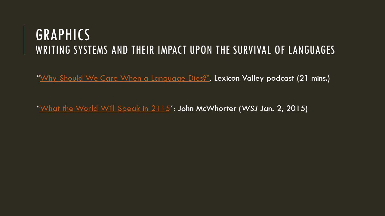 GRAPHICS WRITING SYSTEMS AND THEIR IMPACT UPON THE SURVIVAL OF LANGUAGES Why Should We Care When a Language Dies? : Lexicon Valley podcast (21 mins.)Why Should We Care When a Language Dies? What the World Will Speak in 2115 : John McWhorter (WSJ Jan.