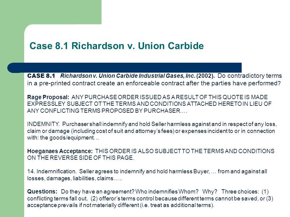 Case 8.1 Richardson v. Union Carbide CASE 8.1 Richardson v.