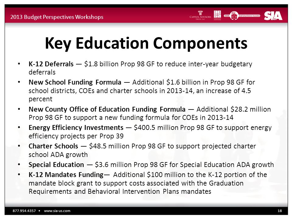 2013 Budget Perspectives Workshops Key Education Components K-12 Deferrals — $1.8 billion Prop 98 GF to reduce inter-year budgetary deferrals New Scho