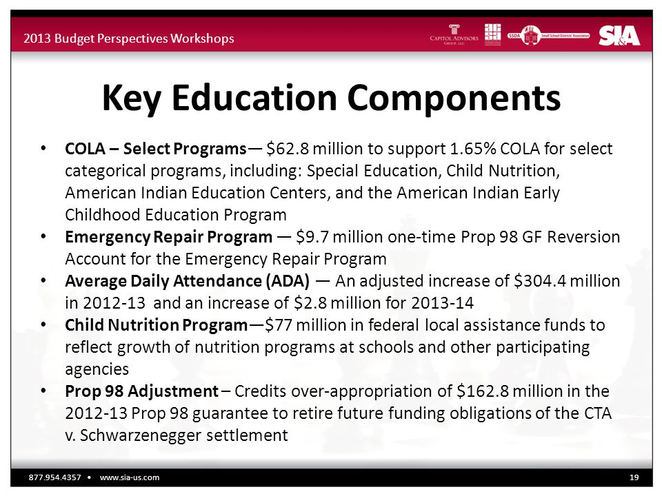 2013 Budget Perspectives Workshops Key Education Components COLA – Select Programs— $62.8 million to support 1.65% COLA for select categorical programs, including: Special Education, Child Nutrition, American Indian Education Centers, and the American Indian Early Childhood Education Program Emergency Repair Program — $9.7 million one-time Prop 98 GF Reversion Account for the Emergency Repair Program Average Daily Attendance (ADA) — An adjusted increase of $304.4 million in 2012-13 and an increase of $2.8 million for 2013-14 Child Nutrition Program—$77 million in federal local assistance funds to reflect growth of nutrition programs at schools and other participating agencies Prop 98 Adjustment – Credits over-appropriation of $162.8 million in the 2012-13 Prop 98 guarantee to retire future funding obligations of the CTA v.