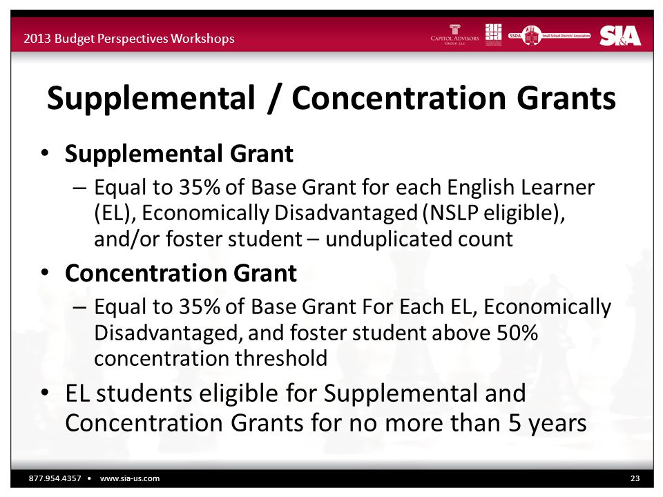 2013 Budget Perspectives Workshops Supplemental / Concentration Grants Supplemental Grant – Equal to 35% of Base Grant for each English Learner (EL), Economically Disadvantaged (NSLP eligible), and/or foster student – unduplicated count Concentration Grant – Equal to 35% of Base Grant For Each EL, Economically Disadvantaged, and foster student above 50% concentration threshold EL students eligible for Supplemental and Concentration Grants for no more than 5 years 877.954.4357 www.sia-us.com23