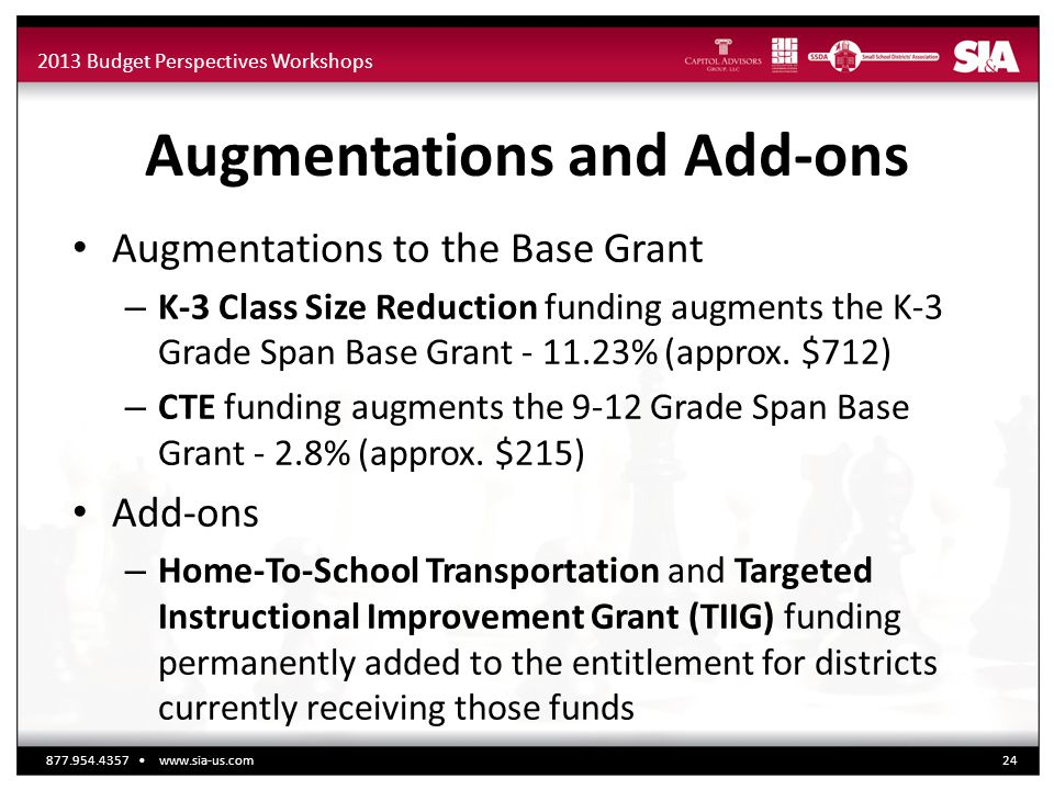 2013 Budget Perspectives Workshops Augmentations and Add-ons Augmentations to the Base Grant – K-3 Class Size Reduction funding augments the K-3 Grade Span Base Grant - 11.23% (approx.