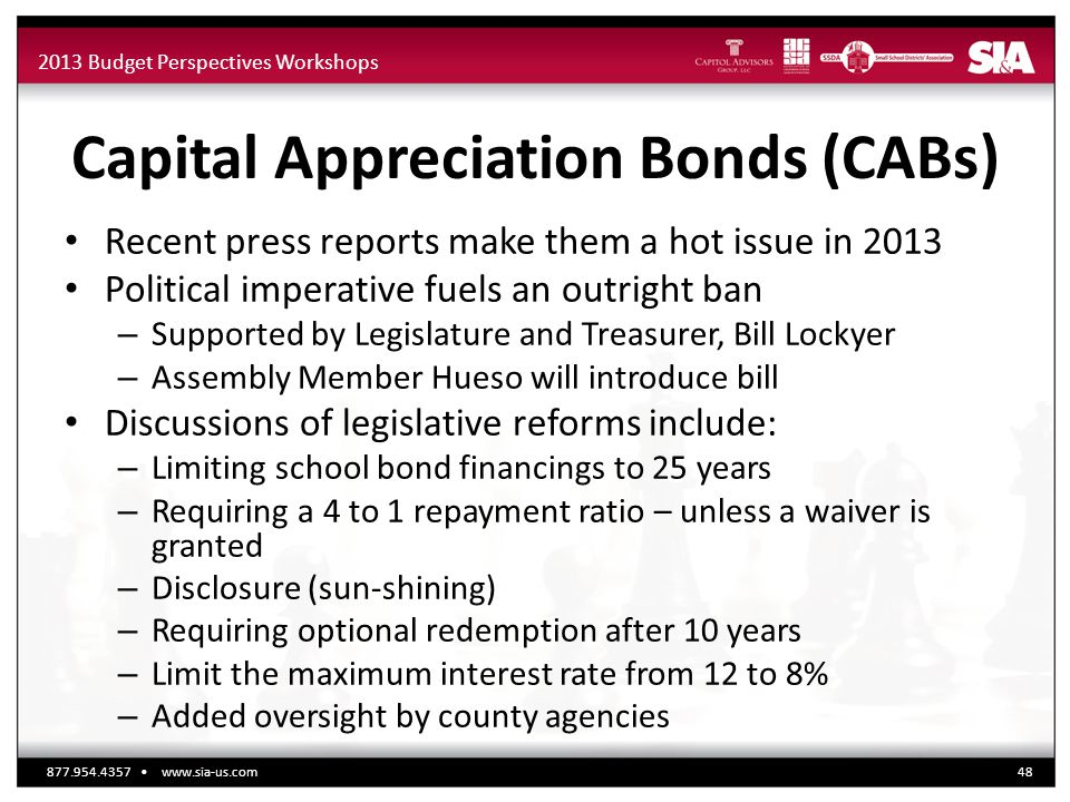 2013 Budget Perspectives Workshops Capital Appreciation Bonds (CABs) Recent press reports make them a hot issue in 2013 Political imperative fuels an